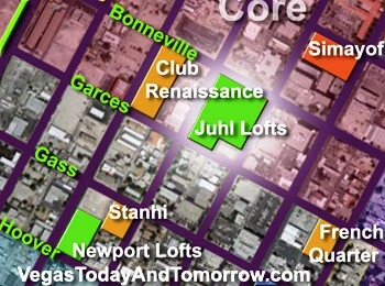 Map for Juhl Las Vegas in Downtown Las Vegas