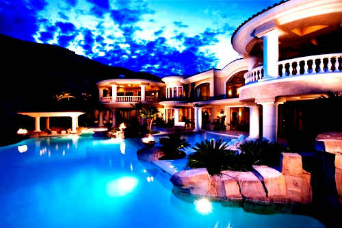 Pool and backyard view of Las Vegas luxury home for sale