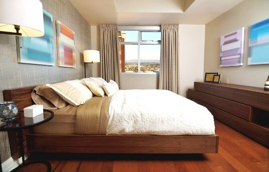 Bedroom of The Ogden high-rise condo for sale