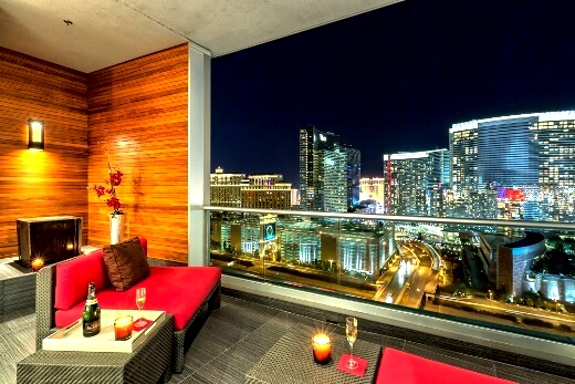 Las Vegas Strip views from Panorama condo at night