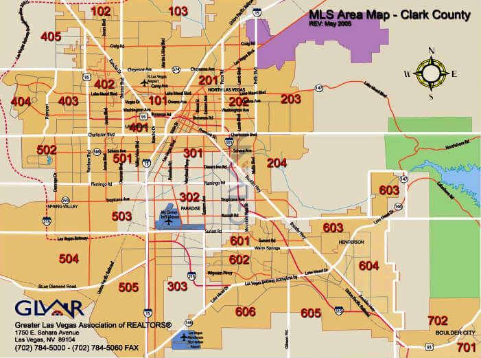 Greater Las Vegas MLS area map covers Las Vegas, Henderson and North Las Vegas