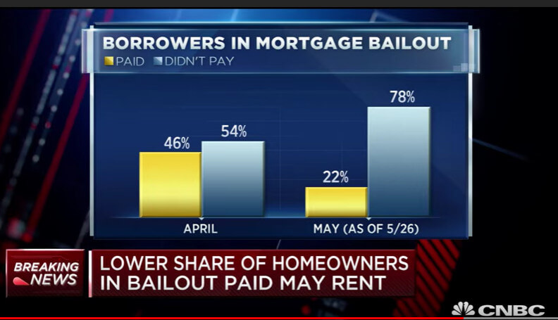 Seventy eight percent of homeowners did not pay their mortgage in May, compared to 54% in April 2020